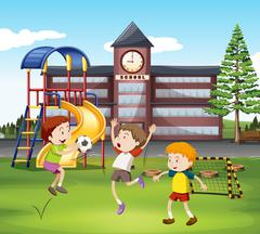 Three boys playing soccer in the field Stock Illustration