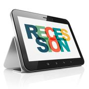 Business concept: Tablet Computer with Recession on  display - stock illustration