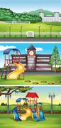 Different scenes with lawn Stock Illustration