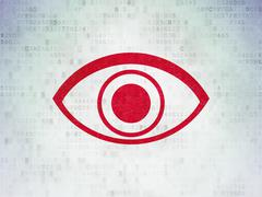 Security concept: Eye on Digital Data Paper background Stock Illustration
