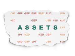 Currency concept: Assets on Torn Paper background Stock Illustration