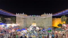 Damascus Gate entrance timelapse Old City Jerusalem Palestine Israel night light Stock Footage