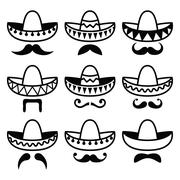 Mexican Sombrero hat with moustache or mustache icons - stock illustration