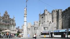 Gravensteen / castle of the counts in Ghent, Flanders, Belgium Stock Footage