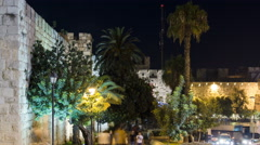 Walls of Ancient City at Night timelapse, Jerusalem, Israel Stock Footage