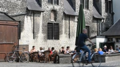 Galgenhuisje, smallest and oldest cafe in Ghent, Flanders, Belgium Stock Footage