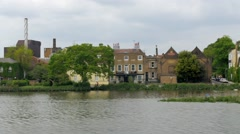 Typical English riverside village Stock Footage