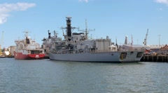 Warship in Portsmouth harbour Stock Footage