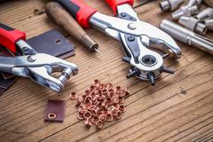 Leather hole punch Stock Photos