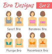 Bra designs on woman torso flat icons set Stock Illustration