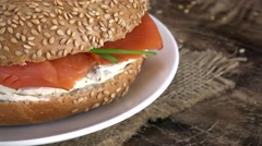 Seamless loopable Bagels with Salmon footage (4K) Stock Footage