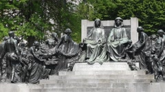 Monument in honour of the Van Eyck brothers in Ghent, Flanders, Belgium Stock Footage