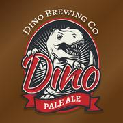 Vector dino craft beer logo concept. T-rex bar insignia design. Pale ale label - stock illustration