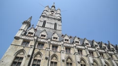 Belfry tower at the Saint Bavo's square in Ghent, Flanders, Belgium Stock Footage
