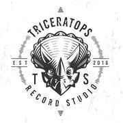 Dinosaur record studio logo template. Triceratops music company logotype. Dino Stock Illustration