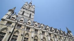 Belfry tower at the Saint Bavo's square in Ghent, Flanders, Belgium - stock footage