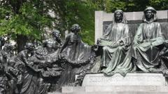 Monument in honour of the Van Eyck brothers in Ghent, Flanders, Belgium - stock footage