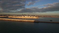 Valencia Spain morning harbor filmed from cruise ship Stock Footage