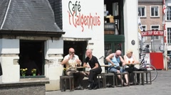 Galgenhuisje, smallest and oldest cafe in Ghent, Flanders, Belgium - stock footage