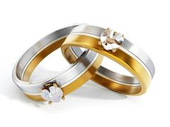 Wedding rings attached together. 3D illustration Stock Illustration