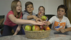 Kids singing and eating fruits by Sheyno, crane shot, close up. Stock Footage