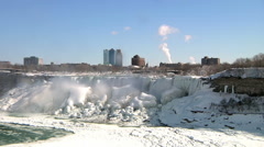 Niagara Falls Snow Covered and Frozen In Winter Stock Footage