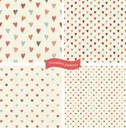 Collection of seamless patterns with hearts on retro colorful background Stock Illustration