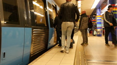 Train Doors Shut on Subway Train -  Stockholm Sweden Stock Footage