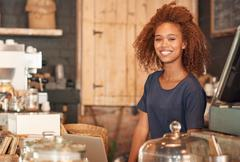 Working in this cafe is my bliss - stock photo