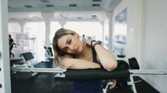 Portrait of sexy girl in gym Stock Footage