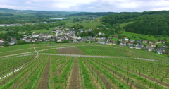 Aerial French Wine Fields Village Drone shot of Europ City Beautiful 4K Ultra Stock Footage
