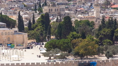 View of the old city andal-aqsa mosque timelapse from the Mount of Olives Stock Footage