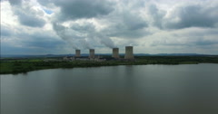Power Plant Aerial Drone shot fly over water to Industry 4K - stock footage