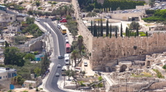 Panoramic view on Jerusalem timelapse with traffic on the road from the Mount of Stock Footage