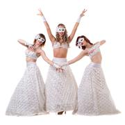 Three carnival dancer women wearing a mask dancing, isolated on white Stock Photos