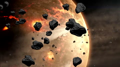Collapse of the giant asteroid. - stock footage