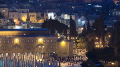 View of the old city andal-aqsa mosque night timelapse from the Mount of Olives Stock Footage