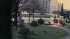Barcelona 1969: tourist coaches parked Stock Footage