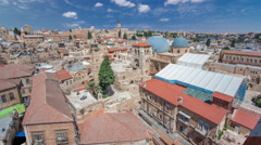 Roofs of Old City with Holy Sepulcher Church Dome timelapse, Jerusalem, Israel Stock Footage