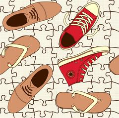 shoes on puzzle floor - stock illustration