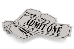 Ticket paper with admit one word - stock illustration