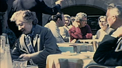 Barcelona 1969: people sitting in an outdoor bar Stock Footage