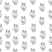 Seamless pattern with hipster cute cats vector illustration - stock illustration