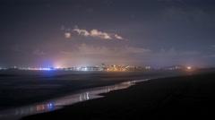 Wollongong City Beach at Night 1 Stock Footage