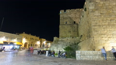 Tower of David night timelapse hyperlapse. Jerusalem, Israel - stock footage