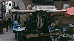 Majorca 1969: people in an outdoor market Stock Footage