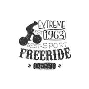 Extreme Freeride Vintage Label With Rider Silhouette - stock illustration