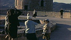 Majorca 1969: people visiting Mallorca Bellver Castle Stock Footage