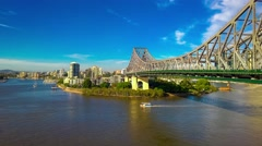 Panoramic view of Brisbane Skyline with Story Bridge and the river. Stock Footage