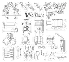Wine making and wine tasting design elements - stock illustration